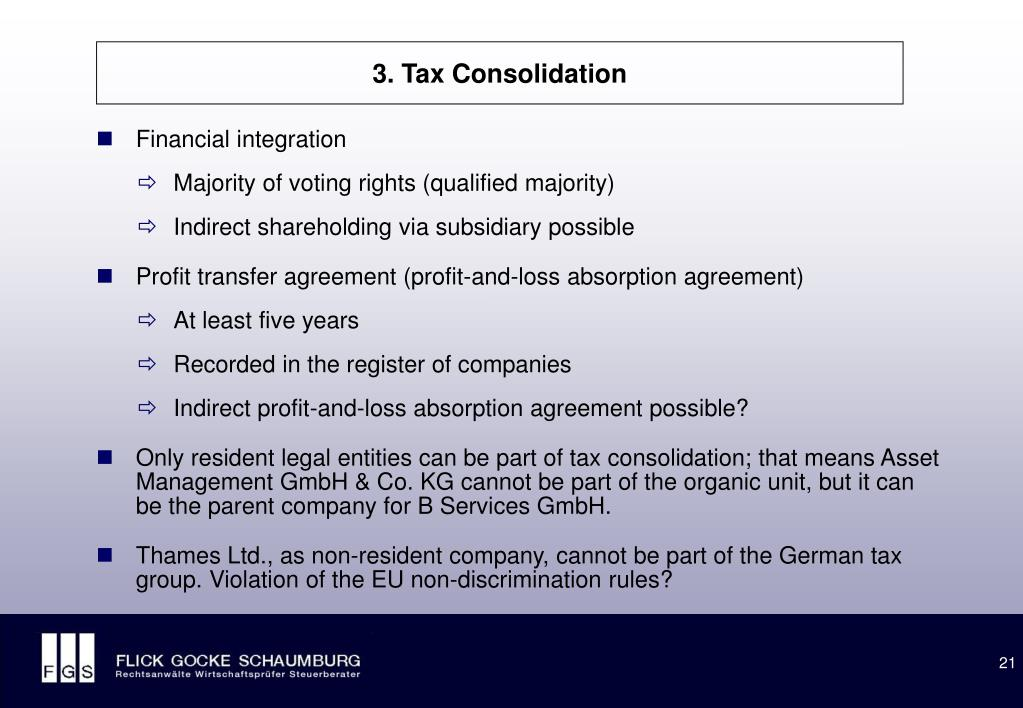 3. Tax Consolidation