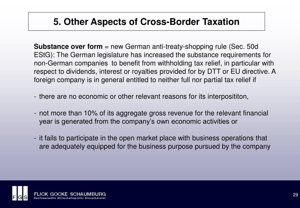 5. Other Aspects of Cross-Border Taxation