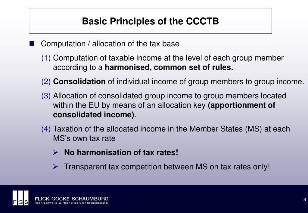 Basic Principles of the CCCTB