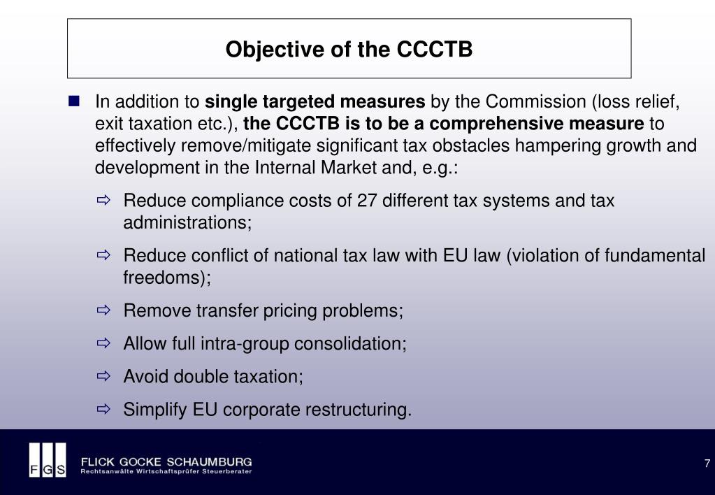 Objective of the CCCTB