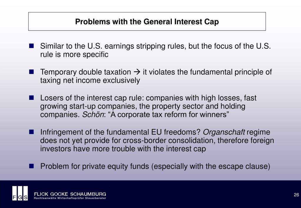 Problems with the General Interest Cap