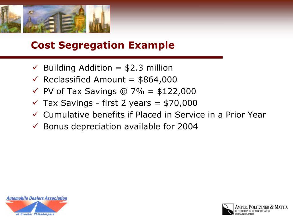 Cost Segregation Example