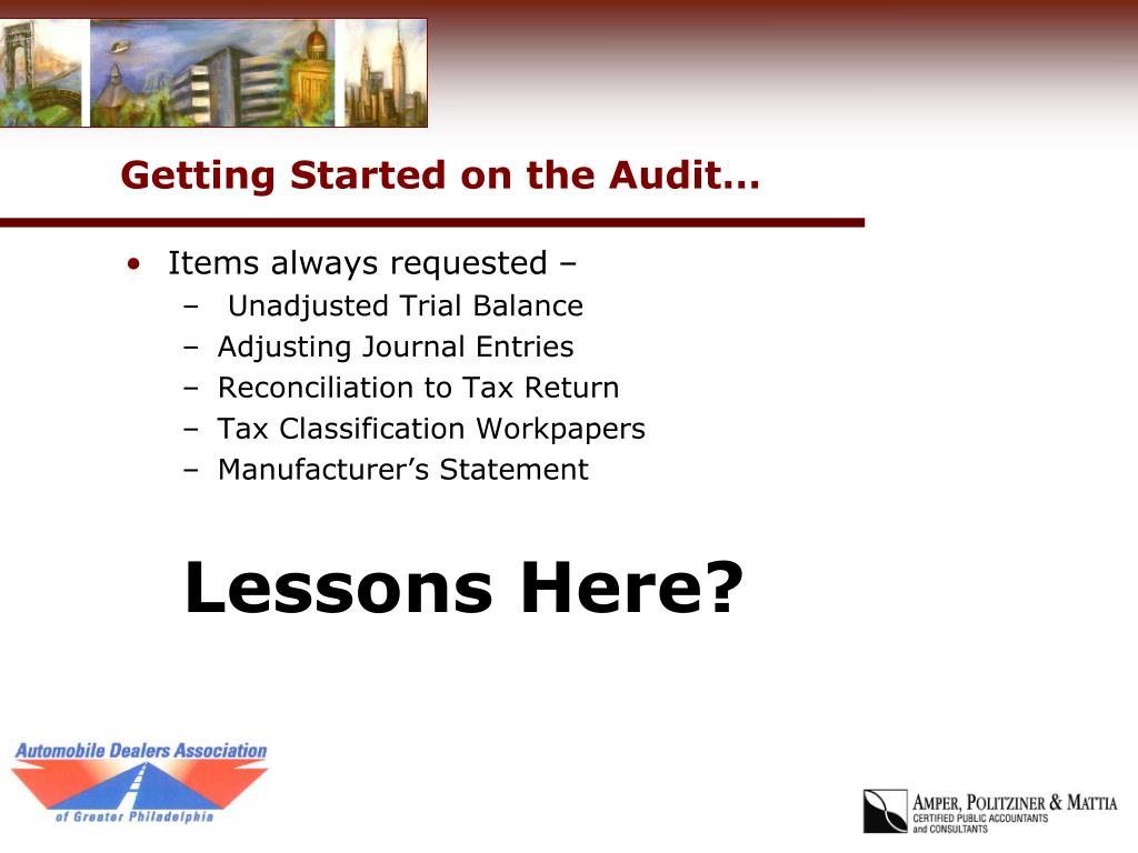 Getting Started on the Audit…