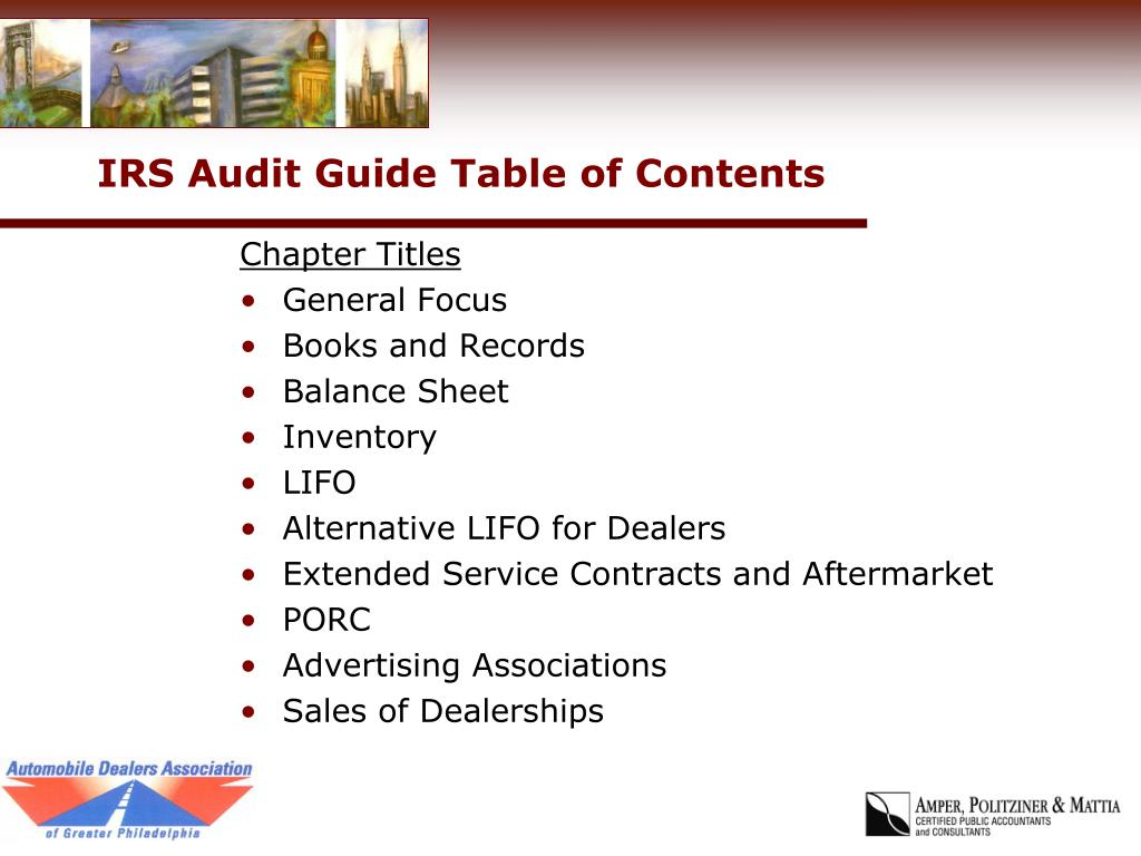 IRS Audit Guide Table of Contents
