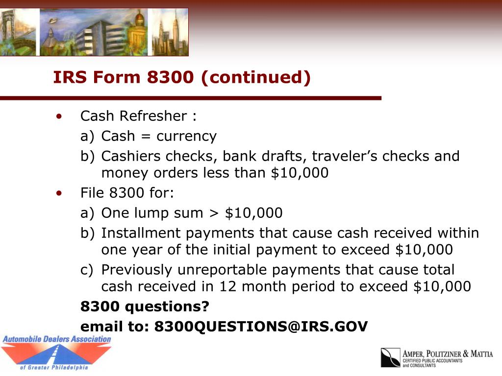 IRS Form 8300 (continued)