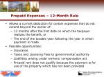 prepaid expenses 12 month rule