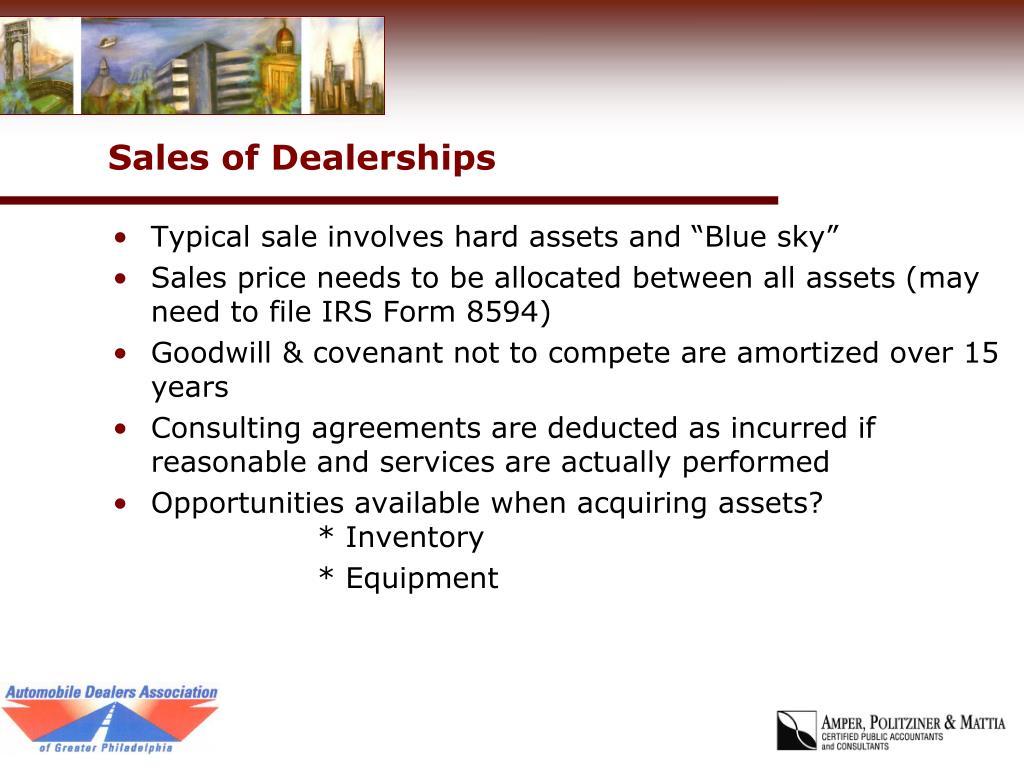 Sales of Dealerships