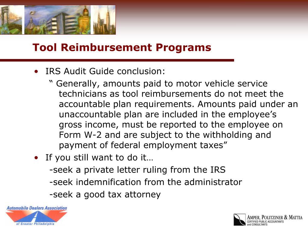 Tool Reimbursement Programs