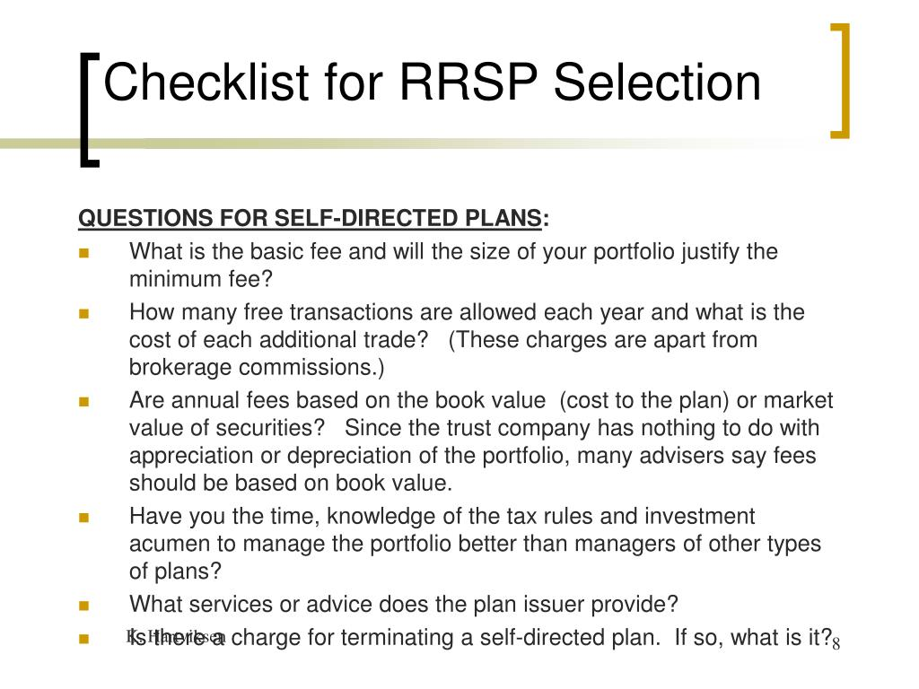 Checklist for RRSP Selection