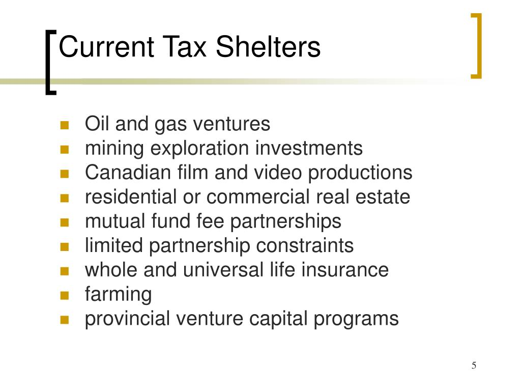 Current Tax Shelters