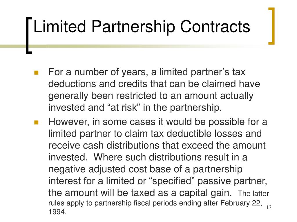 Limited Partnership Contracts