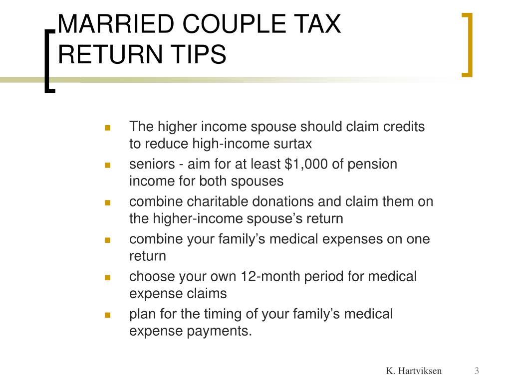 MARRIED COUPLE TAX RETURN TIPS