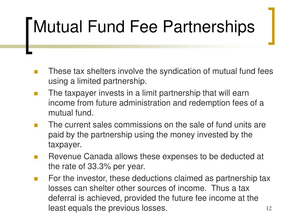 Mutual Fund Fee Partnerships