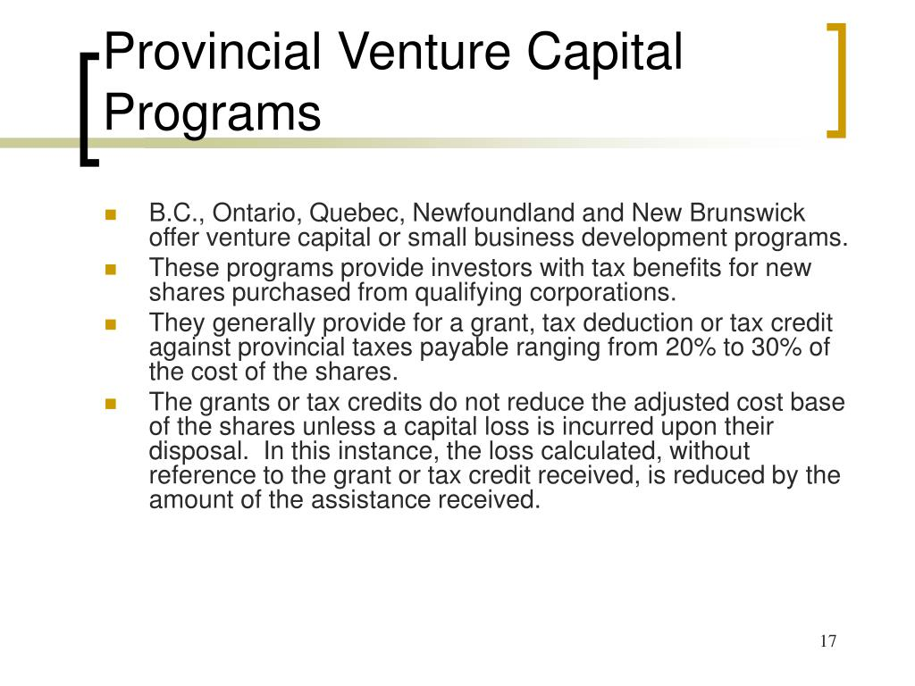 Provincial Venture Capital Programs