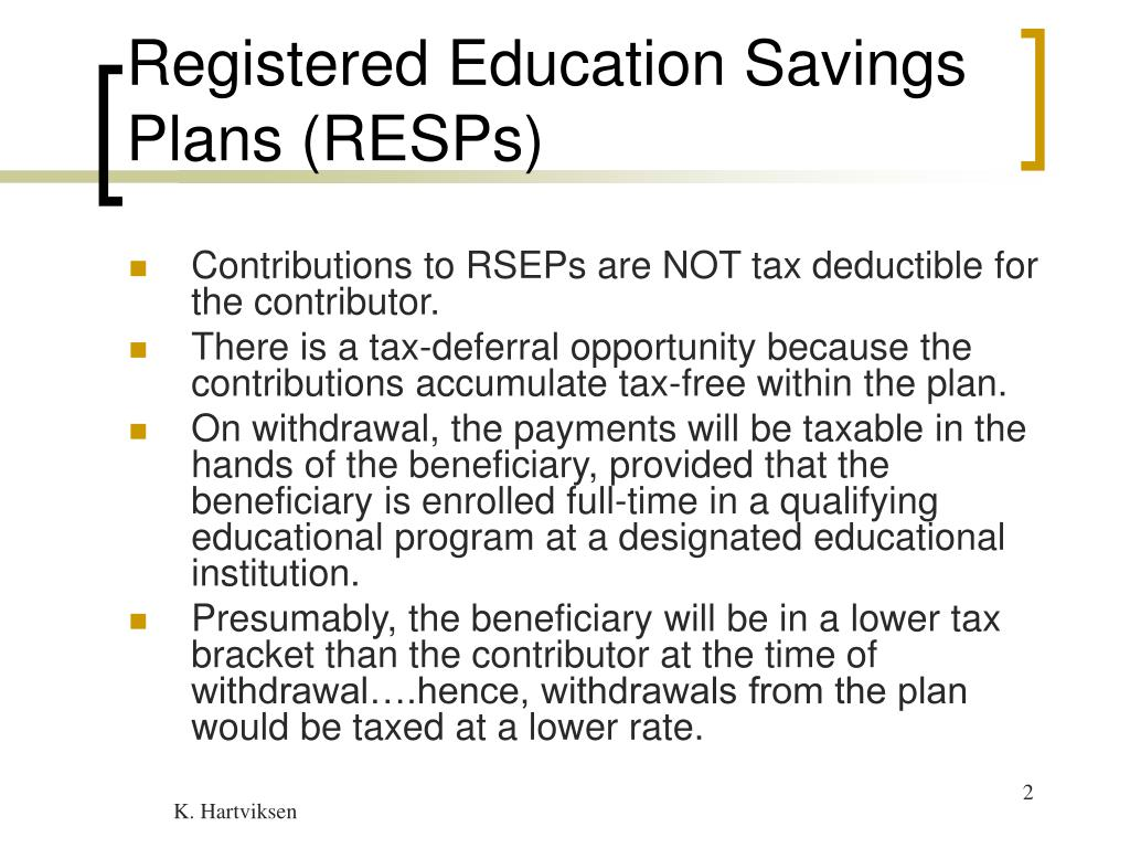 Registered Education Savings Plans (RESPs)