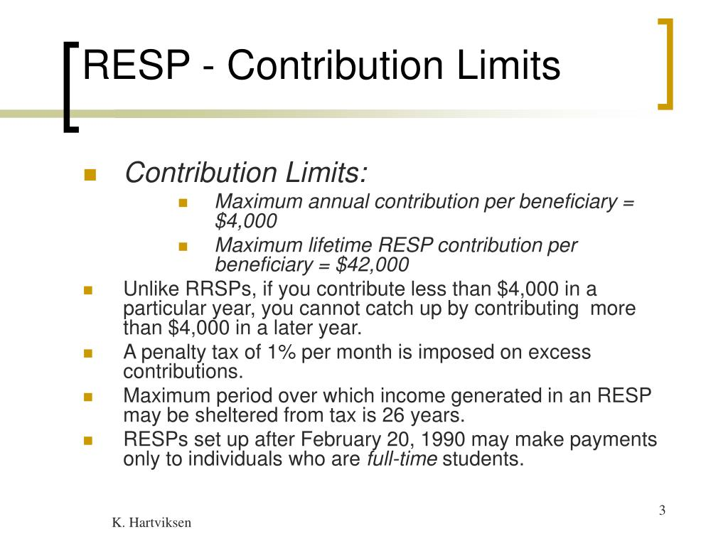 RESP - Contribution Limits
