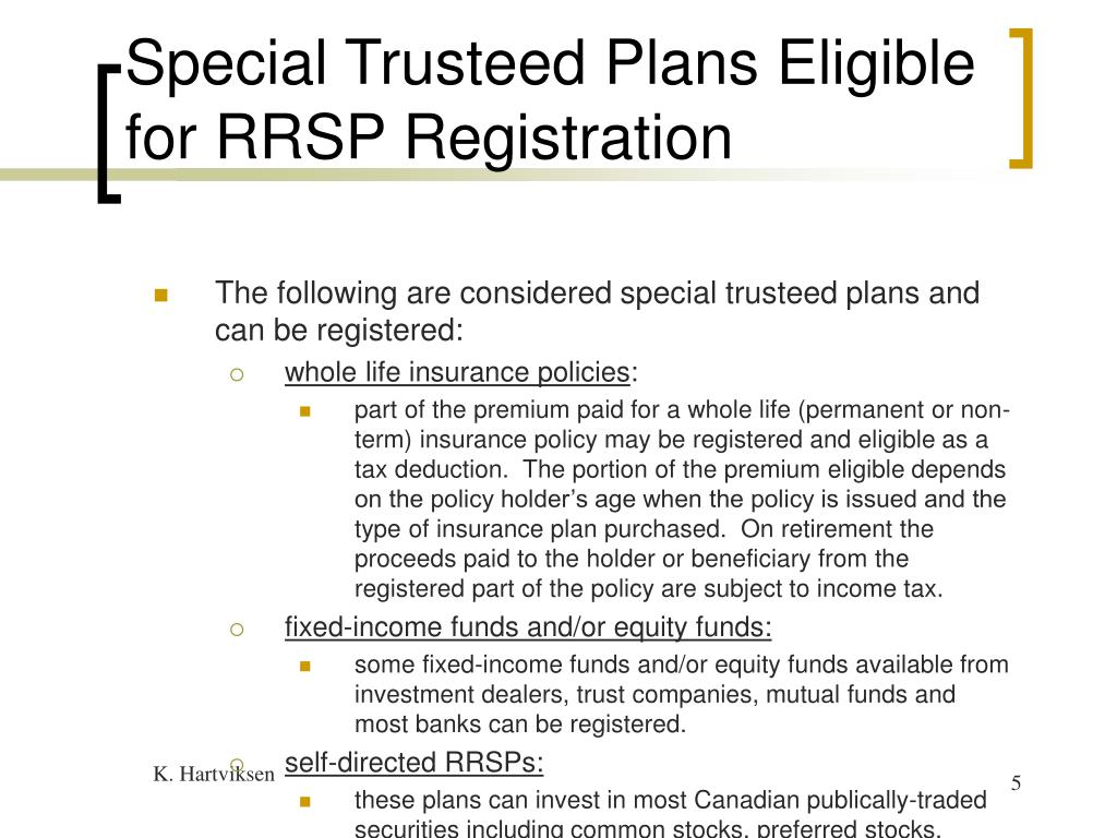 Special Trusteed Plans Eligible for RRSP Registration