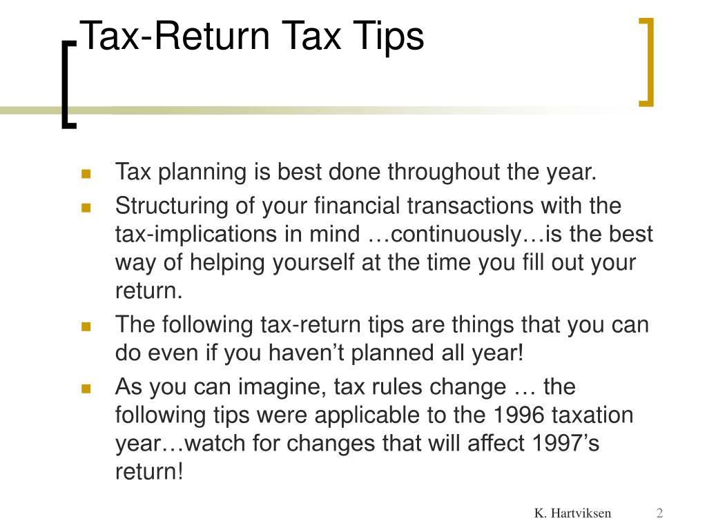 Tax-Return Tax Tips