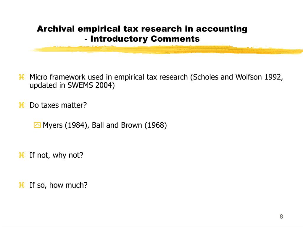 Archival empirical tax research in accounting