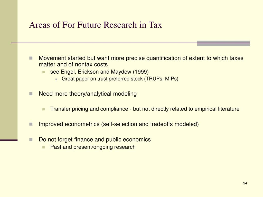 Areas of For Future Research in Tax