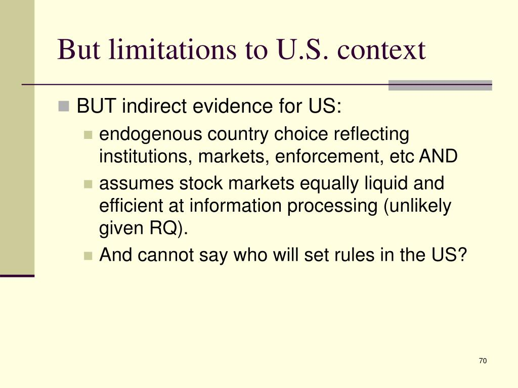 But limitations to U.S. context