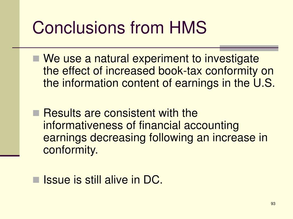 Conclusions from HMS
