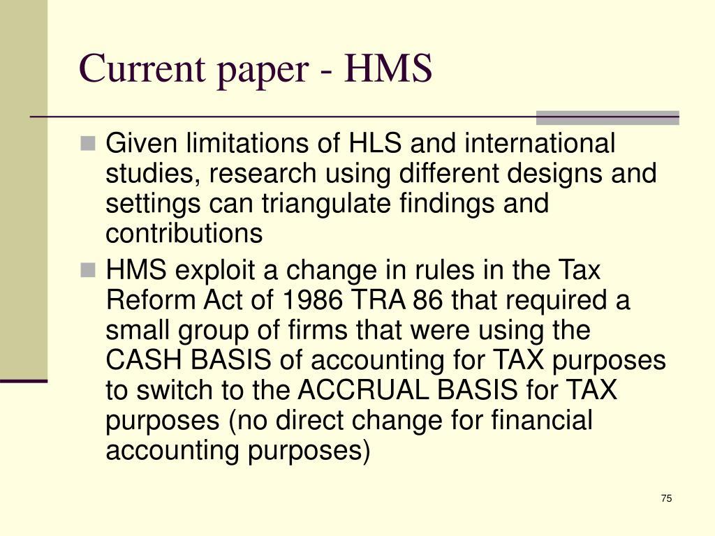 Current paper - HMS