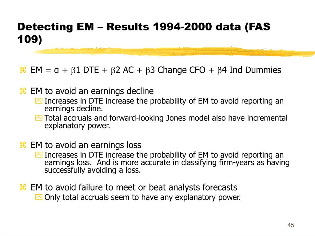 Detecting EM – Results 1994-2000 data (FAS 109)