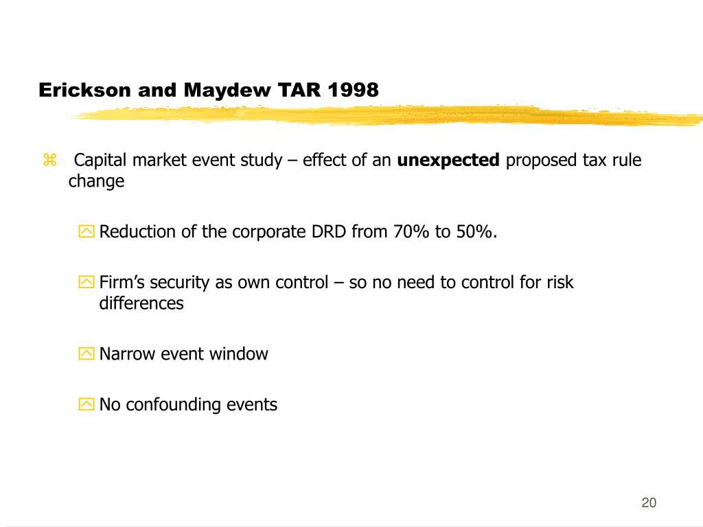 Erickson and Maydew TAR 1998