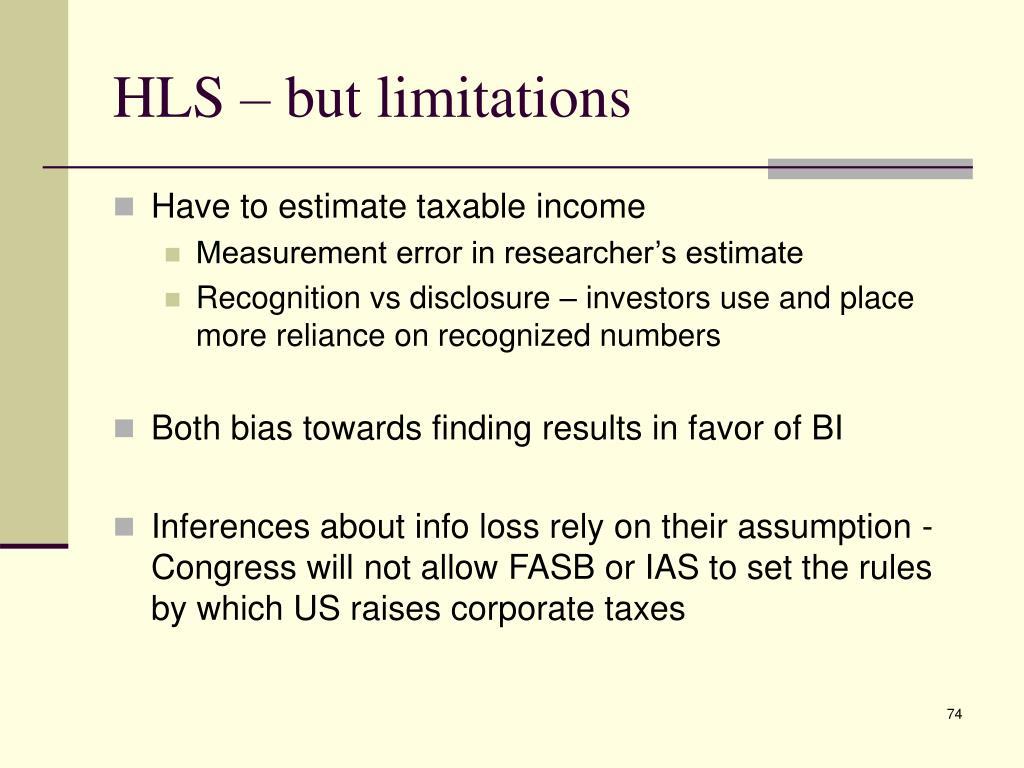 HLS – but limitations