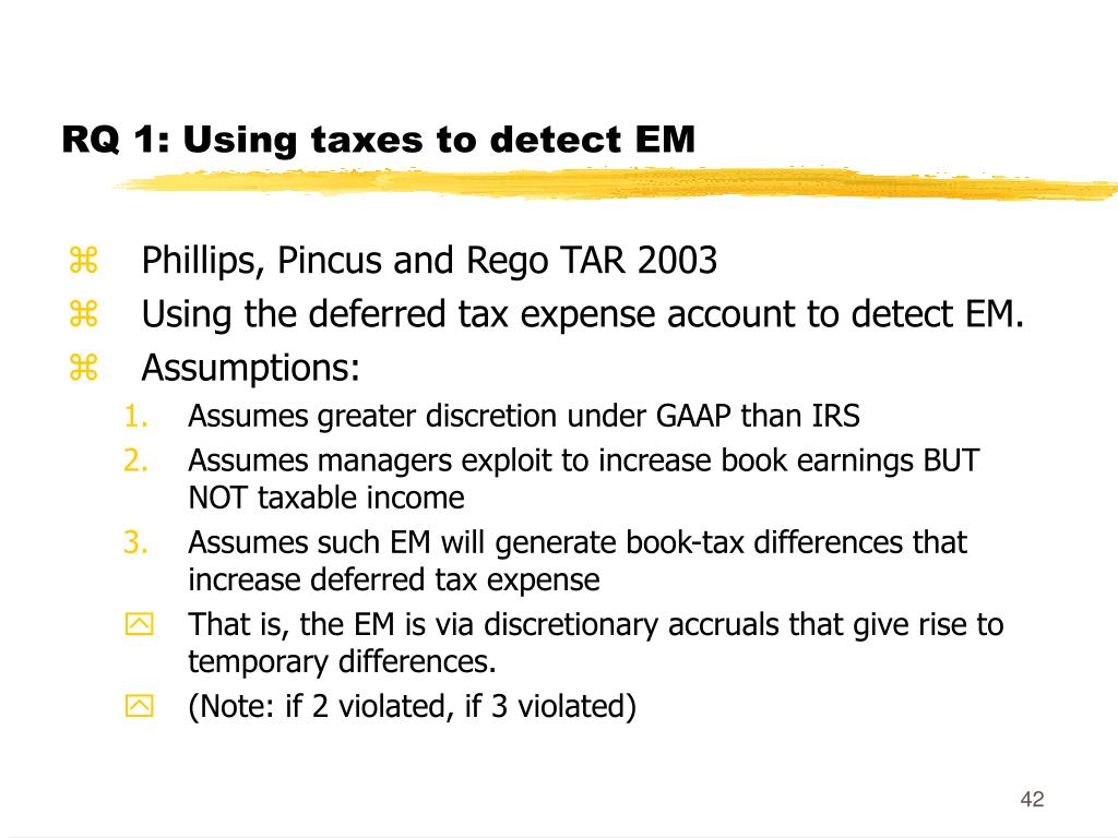 RQ 1: Using taxes to detect EM