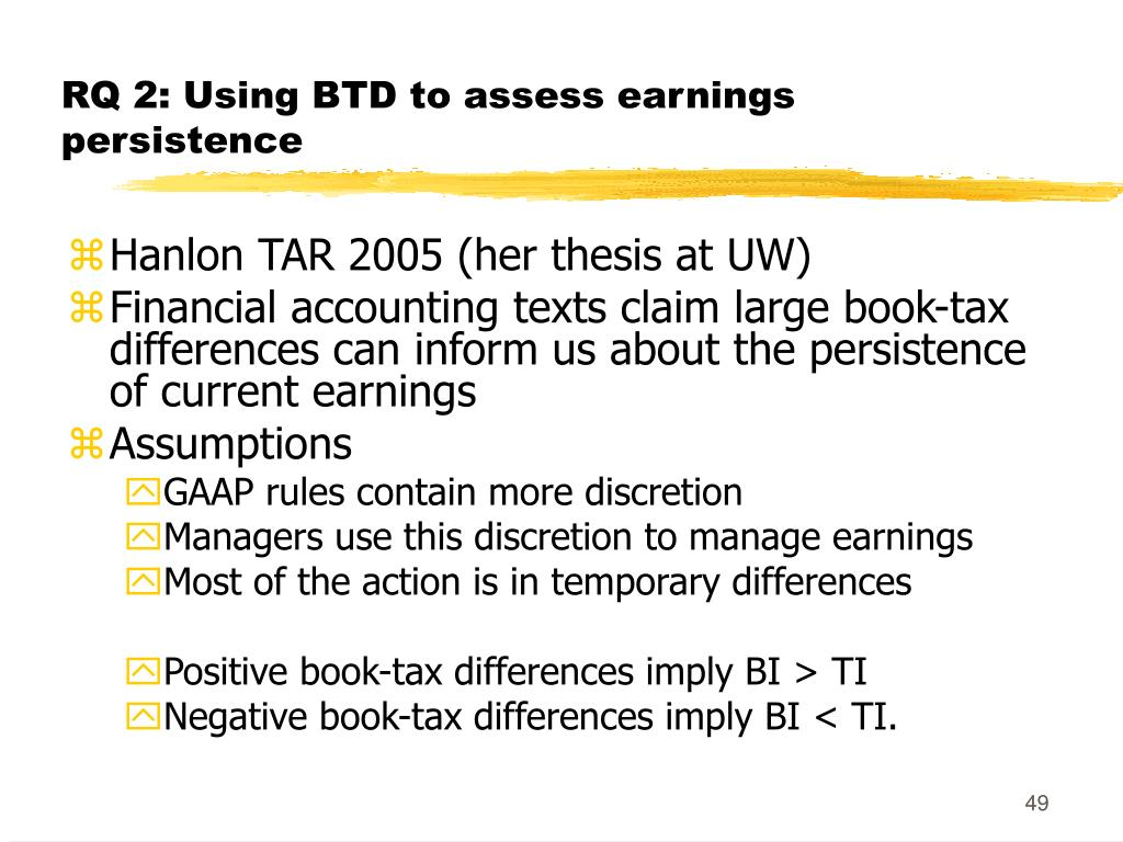 RQ 2: Using BTD to assess earnings persistence