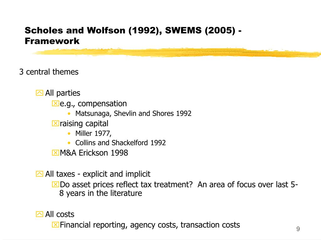 Scholes and Wolfson (1992), SWEMS (2005) - Framework