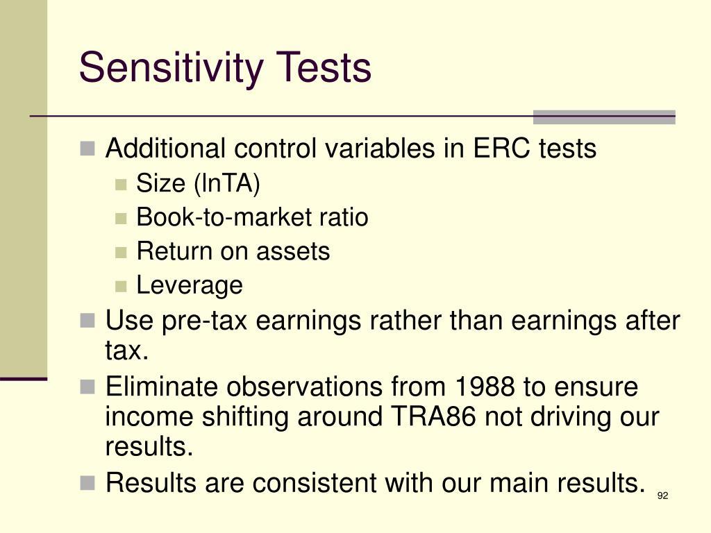 Sensitivity Tests