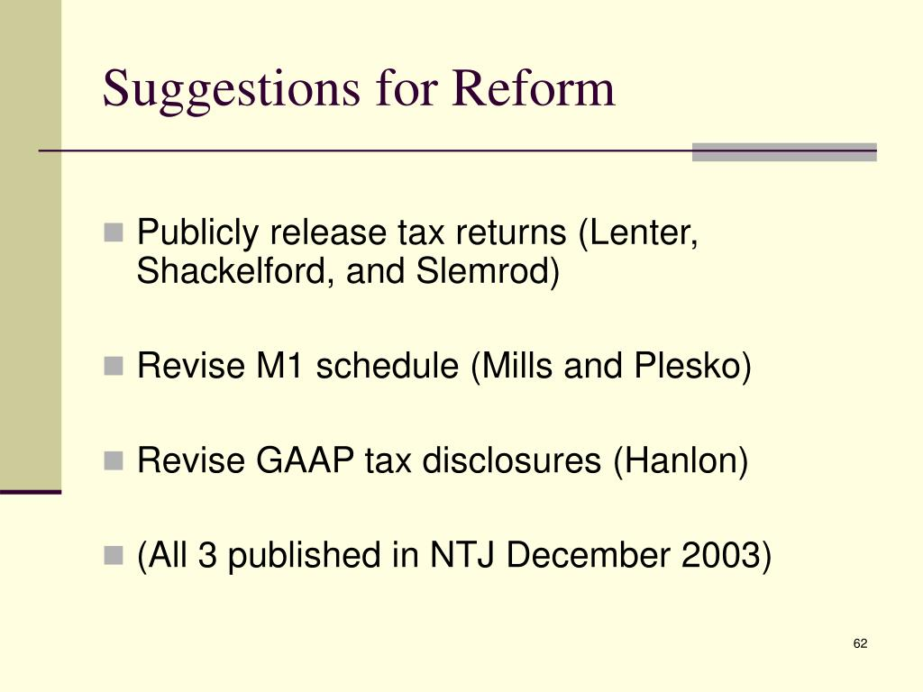 Suggestions for Reform