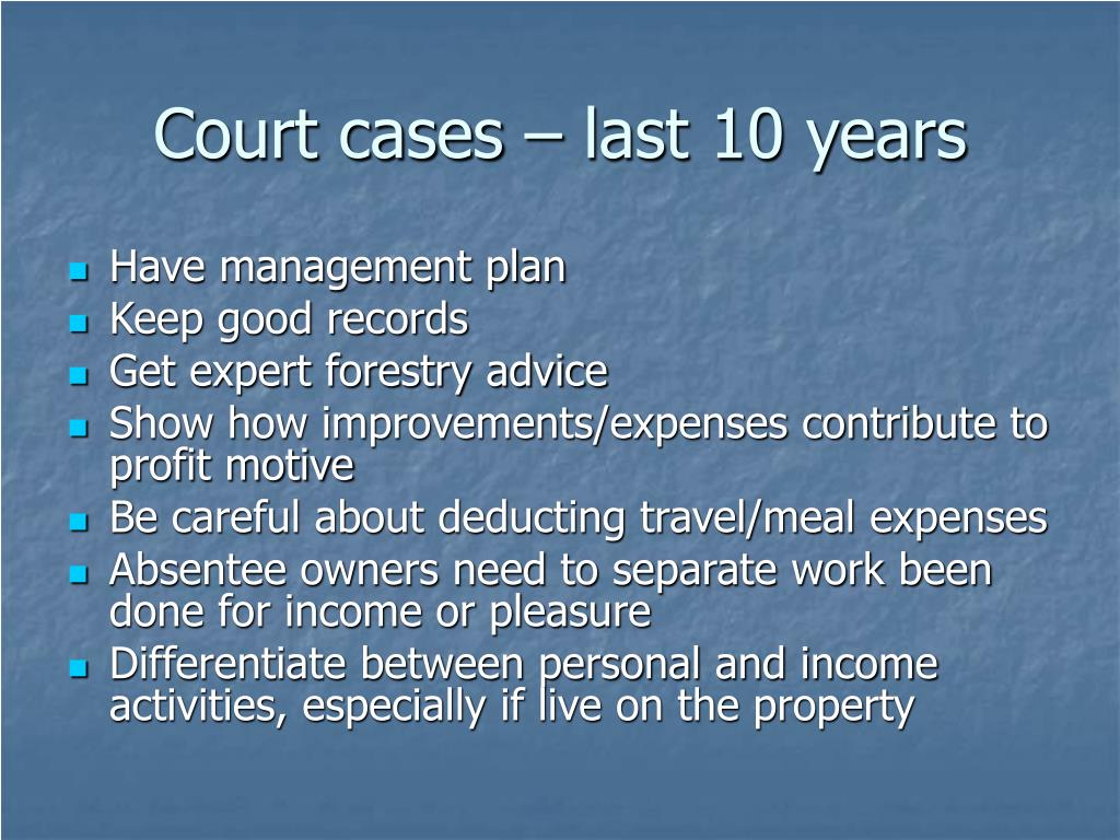 Court cases – last 10 years