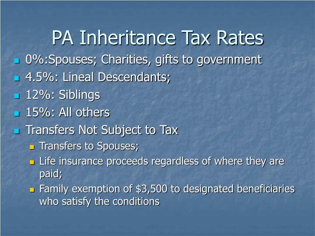 PA Inheritance Tax Rates