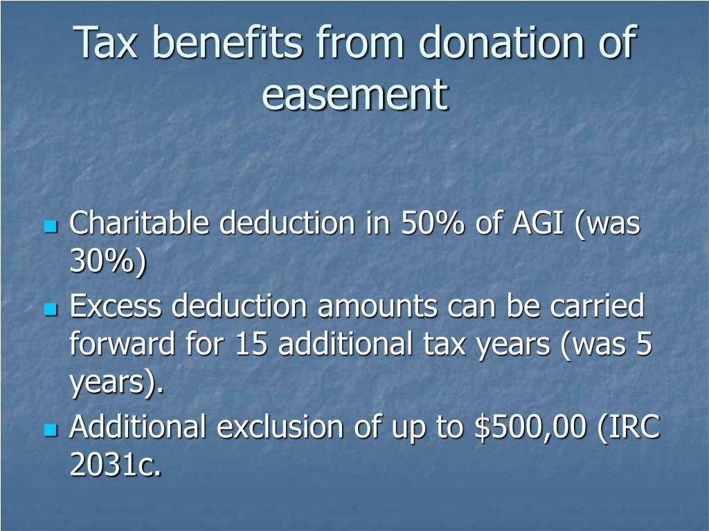 Tax benefits from donation of easement