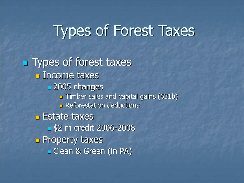 Types of Forest Taxes
