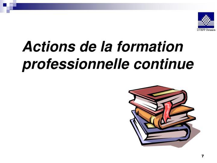 Actions de la formation professionnelle continue