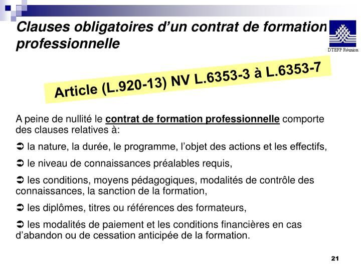 Clauses obligatoires d'un contrat de formation professionnelle