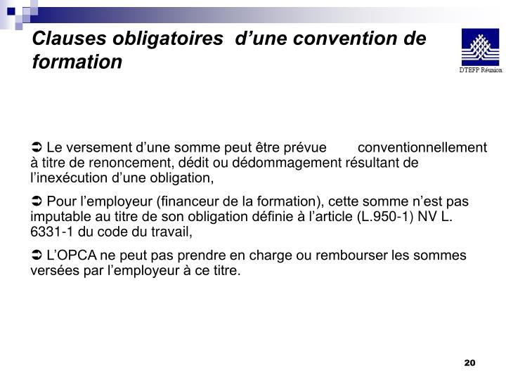 Clauses obligatoires  d'une convention de formation