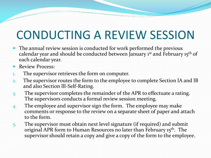 CONDUCTING A REVIEW SESSION