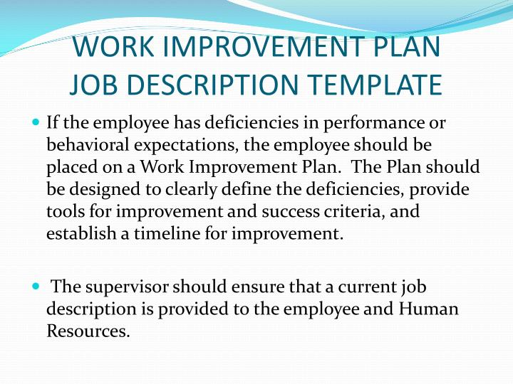 WORK IMPROVEMENT PLAN