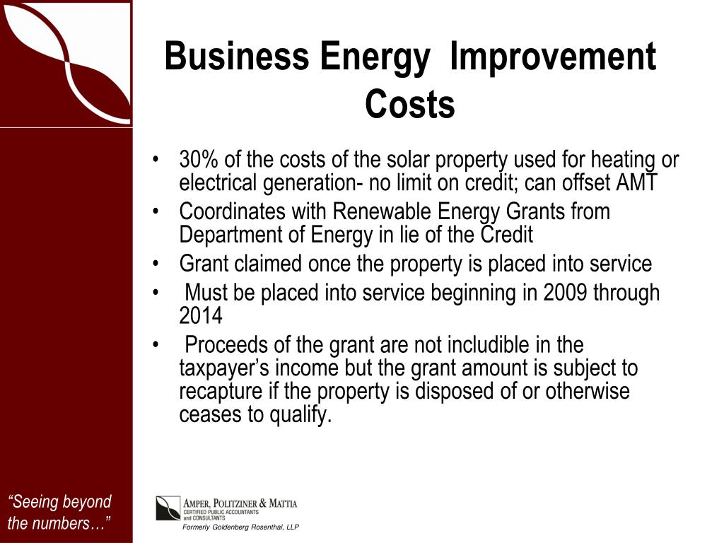 Business Energy  Improvement Costs