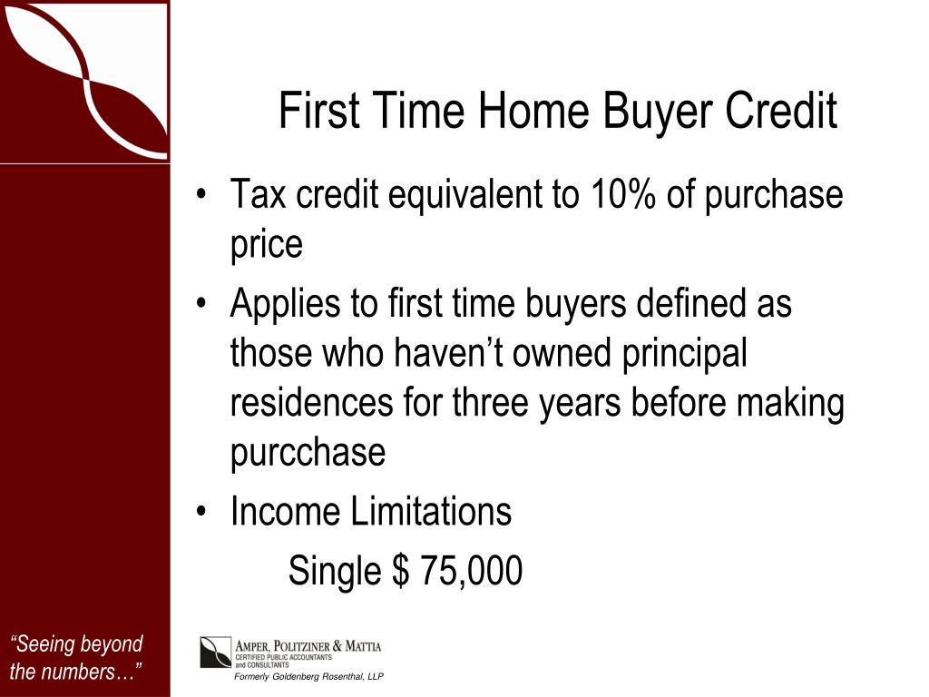 First Time Home Buyer Credit