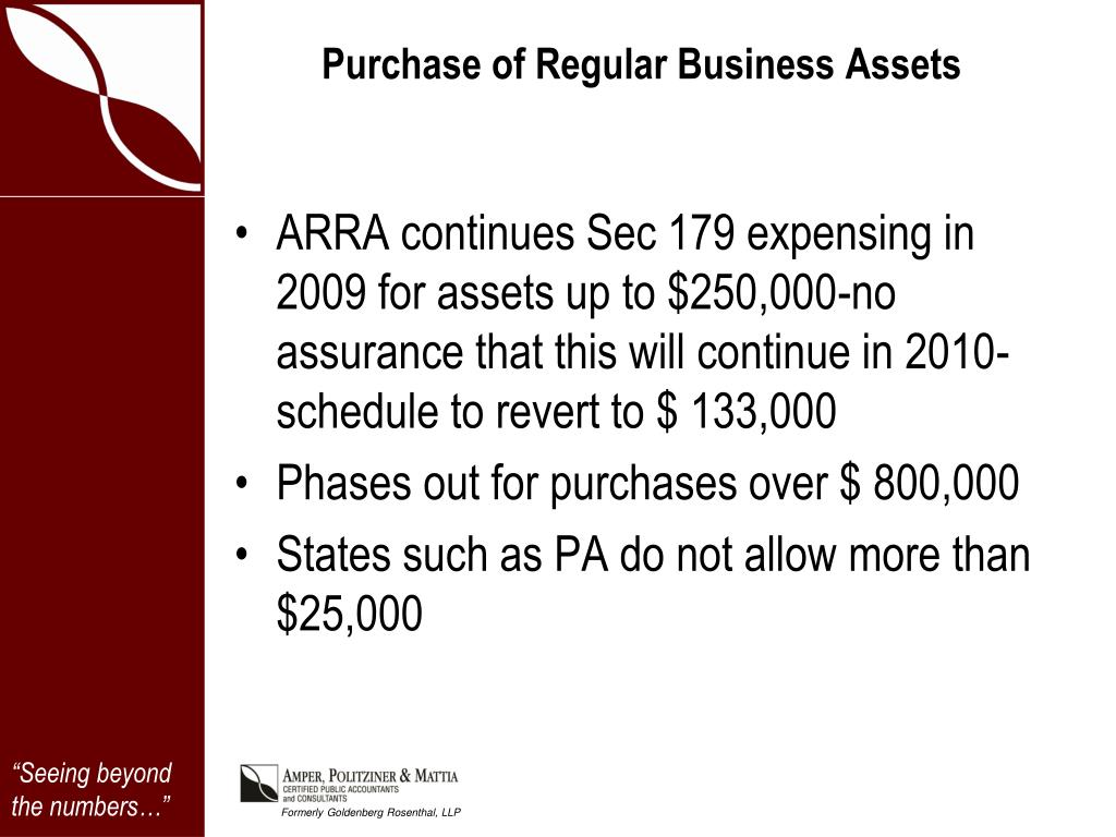 Purchase of Regular Business Assets