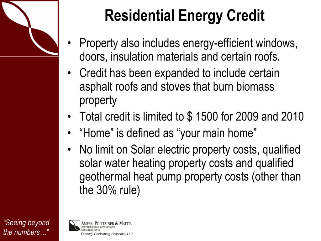 Residential Energy Credit