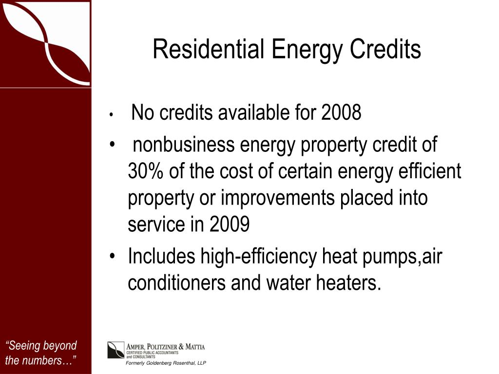 Residential Energy Credits