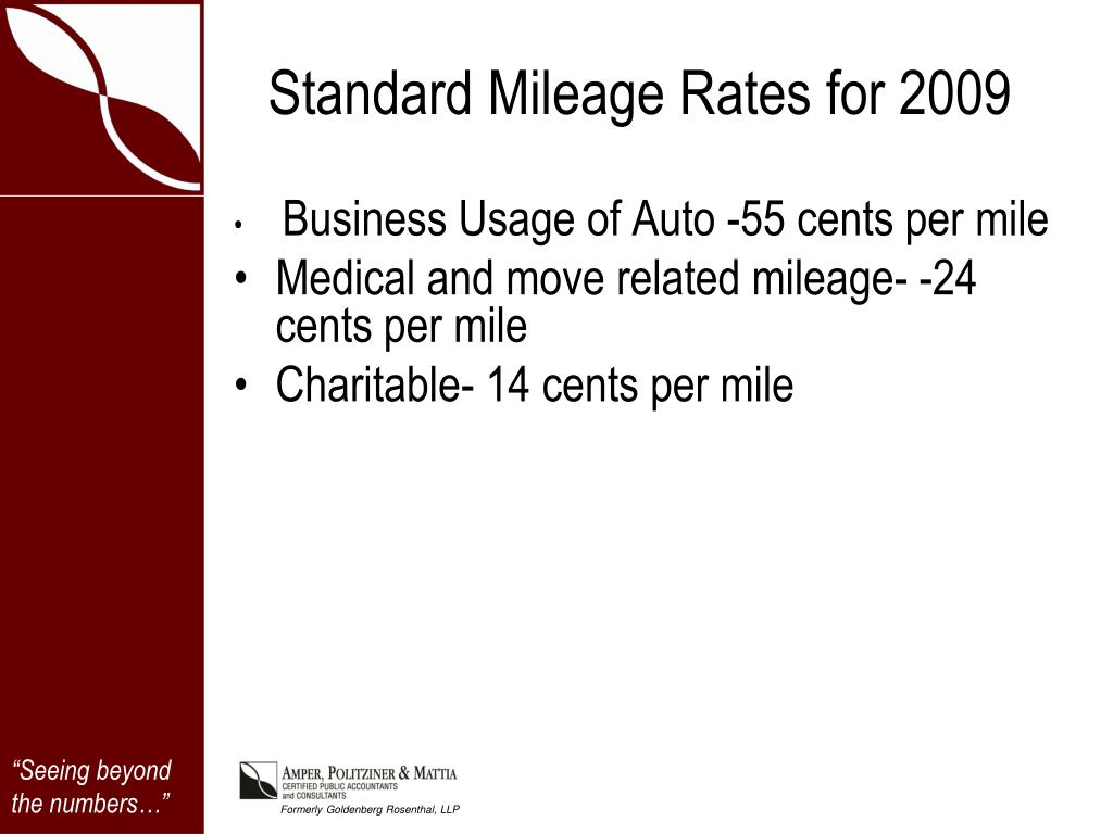 Standard Mileage Rates for 2009